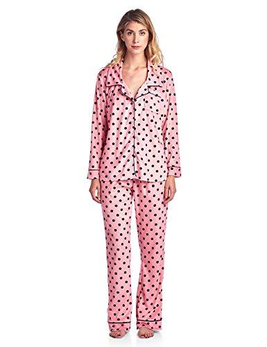 Ashford & Brooks Women's Long Sleeve Minky Micro Fleece Pajama Set- Pink Black Dot- XL