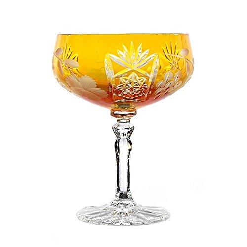 CRISTALICA Verre De Champagne De Raisin 200ml Jaune en Cristal De Plomb Verre De Style Moderne Verre De Haute Qualité