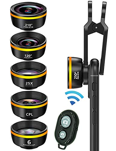 Phone Camera Lens,Clip on Cell Phone Lens kit 6 in 1, 210° Fisheye Lens + 25X Macro Lens + 120° Wide Angle Lens,CPL+Kaleidoscope+Remote Shutter,for Most iPhone Android Phones and Smartphones