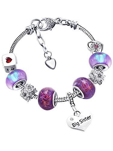 Big Sis Shiny Crystal Charm Bracelet Bangle Jewelry Wristband with Gift Box Set for Sister Girl Lady (Purple Glass Glaze)