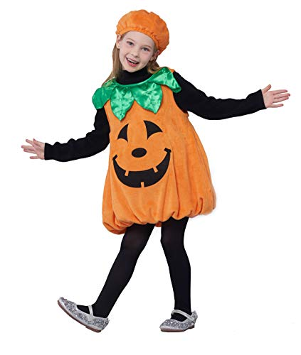 Girls Pumpkin Costume, Boys Outfit Toddler Kids Baby Lantern Faces Fancy Dress up for Halloween Party