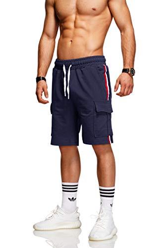 behype. Herren Sweat-Shorts Kurze Hose Sport-Hose Jogging-Hose Trainings-Hose Freizeit Side-Stripe 60-8110 (L, Navy)
