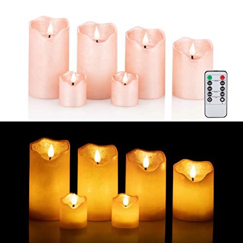 6 LED Echtwachskerzen mit täuschend echter Flamme und Docht, Fernbedienung, Dimmer und Timerfunktion (Roségold)