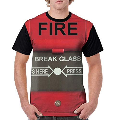 Fire Alarm Man'S T-Shirt Men's Funny T-Shirt 100% Cotton tee Black XL