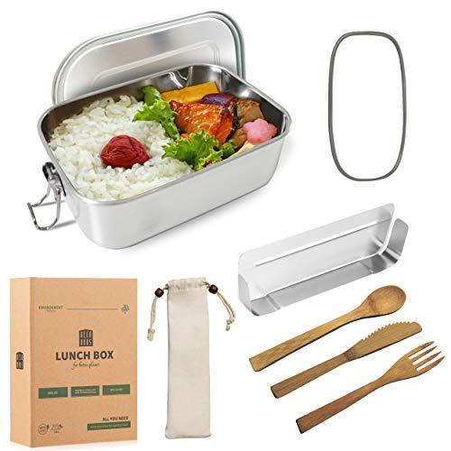 DecoHaus Praktische Edelstahl Bento Box mit Besteck und Bestecktasche 800ml - Zero Waste Edelstahl Brotdose und Meal prep Behälter für Kinder und Erwachsene - Auslaufsichere Lunch Box mit Fächern