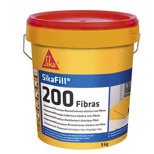 SikaFill 200 Fibras, Blanco, Pintura acrílica con fibras de vidrio para impermabilización de cubiertas visitalbles y protección de pareces medianeras, 5kg