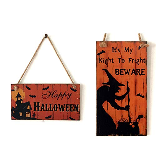 Qiundar 2Pcs Letrero de Bienvenida de Halloween Placa De Madera Decorativa para Puerta Letrero De Bienvenida Cartel Colgante De Madera Decoraciones de Halloween