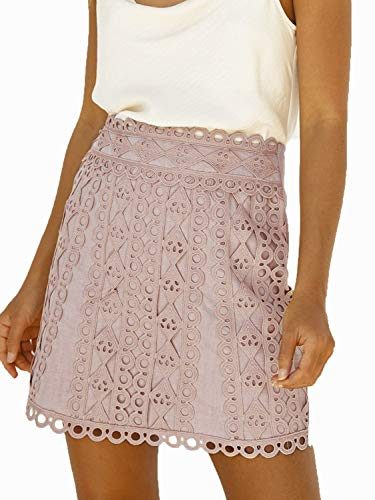 Simplee Women's A-line Lace Embroidery Patchwork Zip Back Elegant Mini Skirt (Pink 4-6)
