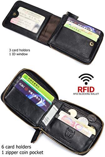 BULLCAPTAIN Genuine Leather Men Zipper Wallet Bifold RFID Blocking Wallet Large Capacity Multi Card Holder Coin Purse 3
