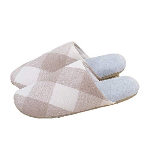 Mujeres Hombres Zapatillas de algodón Zapatillas para Interiores Peluches Calientes Antideslizantes casero algodón Zapatos Suaves Zapatos de Invierno Suelos de Piso, Caqui, 40/41 TINGG