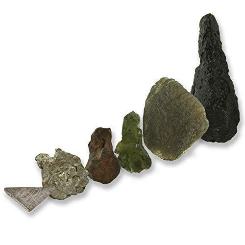 6 Teiliges Universum-Sammlerset mit Meteorit (3) Tektit (2), Pseudotektit (1) in dekorativen Aufstellern