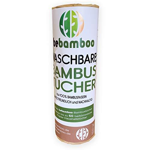 yabamboo Bamboe keukenrol | wasbare bamboehanddoeken | zuigsterke en scheurvaste huishouddoeken | keukenrol herbruikbaar | 100% biologisch afbreekbaar | papieren handdoeken | sneldrogend | 1 Rolle