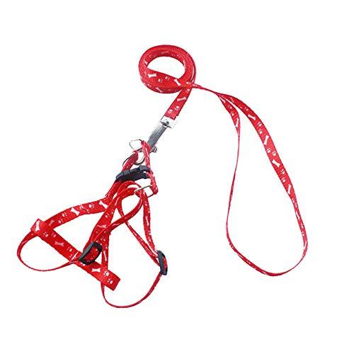 XYBB hondenriem nylon Pet Cat Dog Hündchen Leine Lead Harness Belt Traction Rope, 120cm, Rd