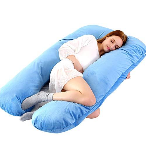 RHSML Almohada de embarazo en forma de U, para embarazadas, almohada de maternidad, de terciopelo para embarazadas (130 x 70 cm), color azul
