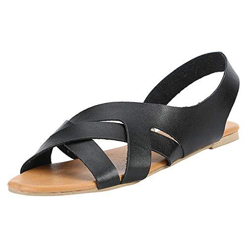 Women Sandals BOLUBILUY Summer Sandals Hemp Rope Slingback Flat Student Beach Slippers Open Toe Roma Sandals Black