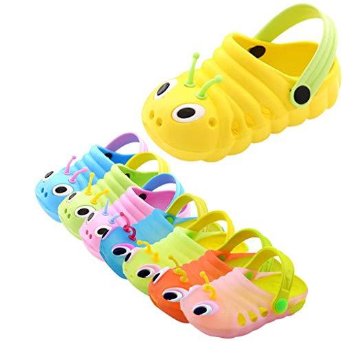 Dorical Süß Karikatur Caterpillar Hausschuhe Sommer Unisex Kleinkind Baby Jungs Mädchen Mädchen Indoor-Schuhe Sandalen Strand Sandalen Flip Schuhe Strandschuhe Badezimmer Schuhe(Gelb,24 EU)