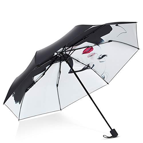 DORRISO Dames Opvouwbare mini-paraplu Lichtgewicht Compact Stabiel Zonnebrandcrème Winddicht Reizen Zakparaplu Reizen Paraplu's Zwart