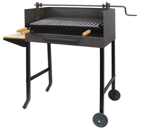 Imex El Zorro 71523 - Barbacoa con ruedas, elevador y parrilla inox, 50 x 40 x 100 cm, color negro