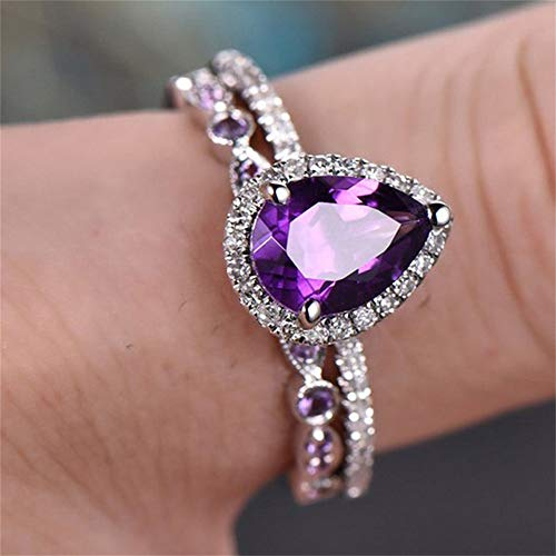 925 Sterling Silver Shining Amethyst Ring Tear Drop Shape 3Ct Cubic Zirconia Promise Rings Set CZ Teardrop Halo Ring Eternity Engagement Wedding Band Ring Sets for Women (US Code 6)