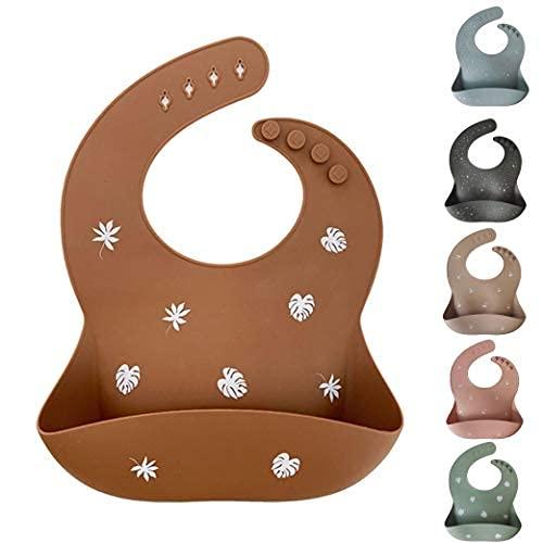 Unique for you Silikonlätzchen - Baby-Lätzchen mit Auffangschale - Robust, flexibel, wasserdicht & spülmaschinenfest - BPA-frei & babysicher - Verstellbare Größe, Dschungelbraun, ab 6 Monate