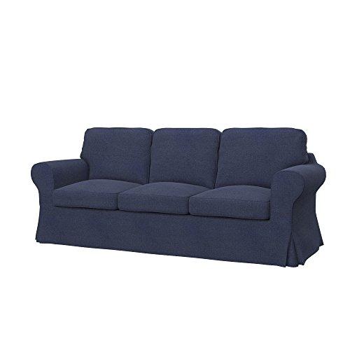 Soferia - IKEA EKTORP Funda para sofá Cama de 3 plazas, Naturel Navy Blue