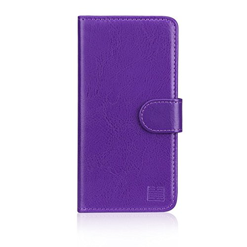 32nd Book Wallet PU Leather Flip Case Cover For Motorola Moto C Plus, Design With Card Slot and Magnetic Closure - Purple