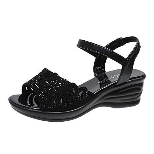 WYEZ Sandalias con Plataforma Mujer Zapatos Trekking Cuero Playa Sandalias con Punta Abierta Casual Zapatos De Deporte,Negro,35