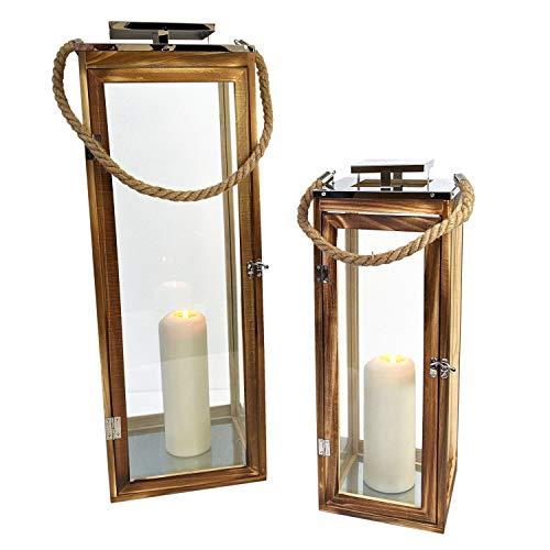 Wohaga 2tlg. Laternen-Set 'Seaside 2' H50/70cm mit Seil Henkel Natur/Silber Laterne Holzlaterne Kerzenhalter Windlicht