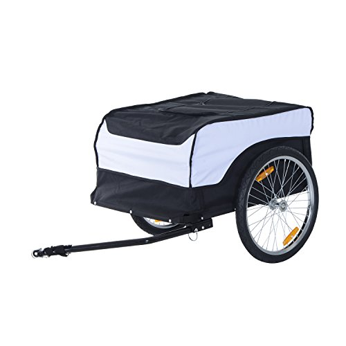HOMCOM Folding Bike Trailer Cargo in Steel Frame Extra Bicycle Storage Carrier with Removable Cover and Hitch (White and Black)