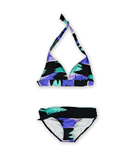 JAG Womens Iris Ringed Sash 2 Piece Bikini, Purple, Small