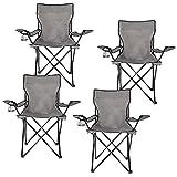 Homewell - Silla plegable portátil para exteriores, playa y campamento (gris, 4 unidades)