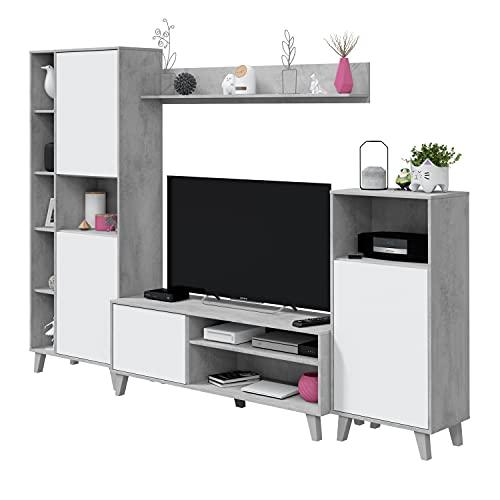 Habitdesign TV Modular, Salon, Juego de Muebles, Modelo Zoe, Acabado en Blanco Artik y Gris Cemento, Medidas: 260 cm (Ancho) x 184 cm (Alto) 40 cm (Fondo), Grande