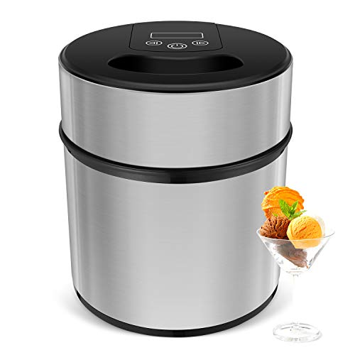 MVPower Eismaschine Speiseeismaschine 2L, Speiseeisbereiter mit Digitaler Timer & Deckelöffnung, für Frozen Yoghurt, Sorbet und Eiscreme, inkl. Eislöffel &Rezepte, Edelstahl