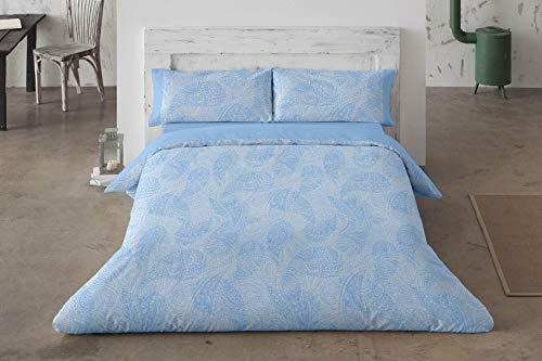 Burrito Blanco Juego de Funda Nórdica 457 con un Diseño Estampado de Cachemirs para Cama Individual de 90x190 hasta 90x200 cm/Funda Nórdica Moderna 90, Color Azul