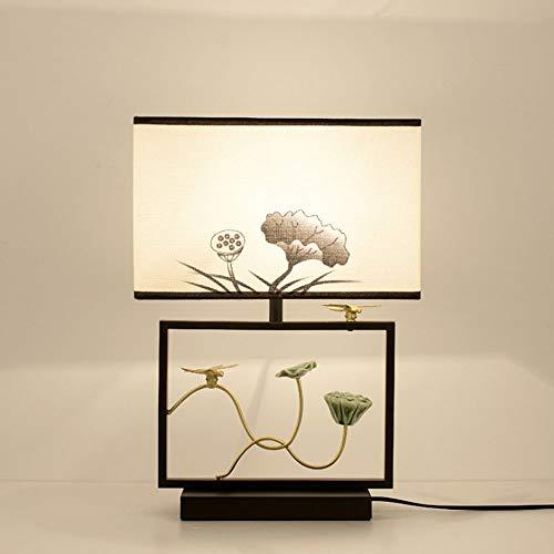 Cinese moderno Tessuto vetro Lampada da Tavolo Lampada da comodino Metallo dorato Lampada da Tavolo per soggiorno, tessuto lampada da tavolo con interruttore per Camera da letto e sala di studio,H
