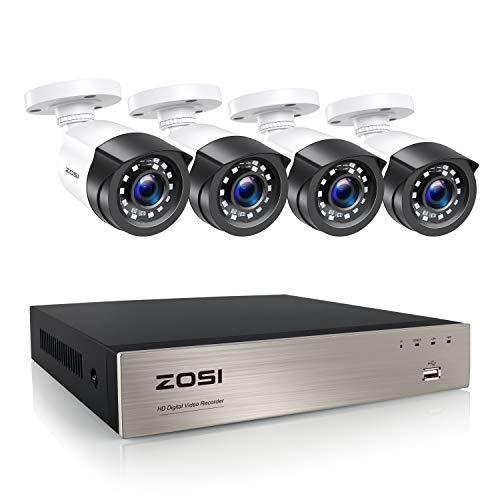 ZOSI Kit de Cámara de Vigilancia Exterior 8CH 2MP Grabador DVR con (4) Cámara de Seguridad Interior, Visión Nocturna, Acceso Remoto, sin Disco Duro