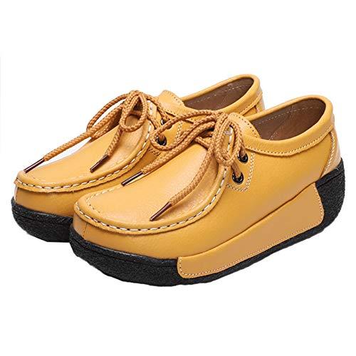 Zapatos Creepers con Cordones para Mujer Zapatillas de Deporte Casuales para Caminar al Aire Libre en Primavera otoño Zapatos de Plataforma cómodos y Elegantes para Vestir