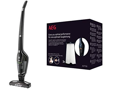 AEG CX7-2-35Ö 2in1 Akku-Staubsauger + AEF150 Filterset (65% Recyclingmaterial, beutellos, bis zu 35 Min. Laufzeit, 180° Drehgelenk, Bürstenreinigungsfunktion, LED-Frontlichter, Innenfilter)