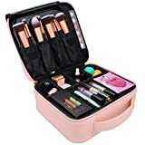 Relavel Travel Makeup Train Case Makeup Cosmetic Case Organizer Portable Artist Storage Bag 10.3 inches with Adjustable Dividers for Cosmetics Makeup Brushes Toiletry Jewelry (Pink)
