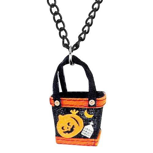 AdronQ Halskette Acryl Halloween Happy Ghost Handtasche Halskette Cartoon Schmuck Für