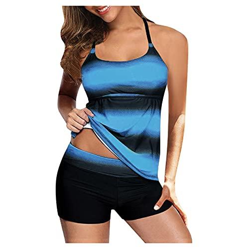 2021 Swimsuits for Women One Piece Bathing Suits Tummy Control Swimwear Print Bikini Ring Top with Boyshort Swimsuits Set