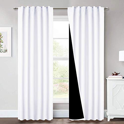 NICETOWN Full Shading Curtains, Super Heavy-duty Black Lined Blackout Drapes with Rod Pocket & Back Tab for Bedroom, Privacy Assured Window Treatment (Pure White, Pack of 2, 52 inches W x 95 inches L)
