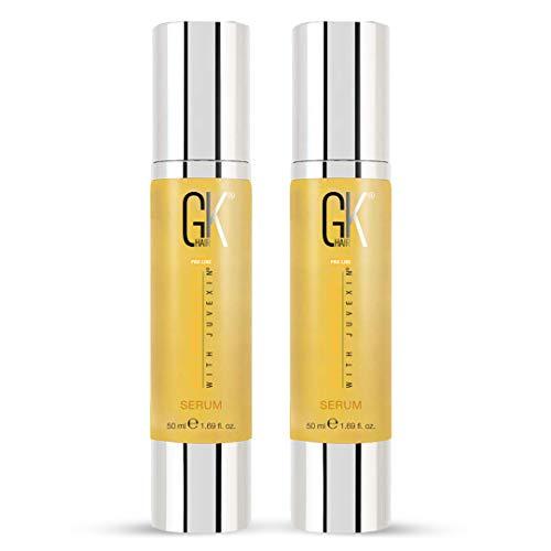 GK Hair Global Keratin Organic Argan Oil Pack de 2 sérum 50 ml pour le contrôle des frisottis Réparation des dommages secs Protection contre la chaleur Lissage de la brillance Unisexe Par GKhair