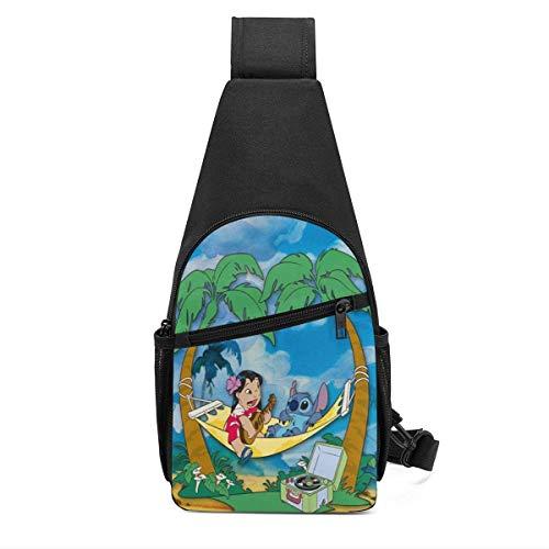 Trista Bauer Lindo Anime Lilo Stitch Sling Bag/Crossbody Mochila de Pecho/Bolsos de Hombro para Hombres Mujeres Viajes Senderismo Ciclismo Mochila Informal