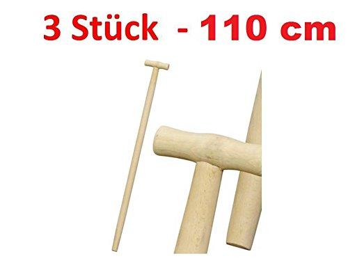 Stanmot Lot de 3 manches de fourche, bêche, pelle, manches en bois en T, longueur 110 cm, diamètre 36, en hêtre
