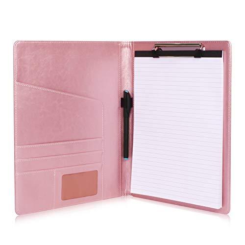 Cartellina portablocco in pelle per raccoglitore, portablocco A4 per conferenze, per ufficio, scuola, conferenza Oro rosa.