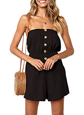 ZESICA Women's Summer Off Shoulder Strapless Solid Color Button Down Elastic Waist Short Jumpsuit Romper Black