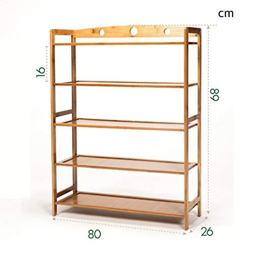 MXZBHRack de Zapatos de Madera de 5 Capas, gabinete de Almacenamiento Unidad de Muebles Soporte de Rack de Almacenamiento de Zapatos Marco de bambú 15~20 Pares (2 tamaños)