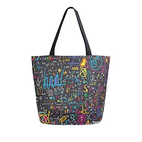 MeetuTrip - Bolsa de lona para educación, física, matemáticas, grande, reutilizable, bolsa de compras, bolsa de hombro casual para escuela, adolescentes, niñas, viajes, profesora de playa