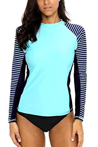 CharmLeaks Women's Rashguard Swimsuit UPF 50+ Rash Guard Long Sleeve Athletic Tops Medium